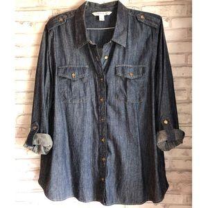 Jones New York jeans blouse plus size